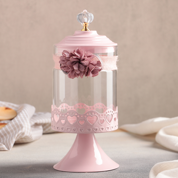 """Банка для сыпучих продуктов на ножке 10×26 см """"Кармен"""", цвет розовый"""