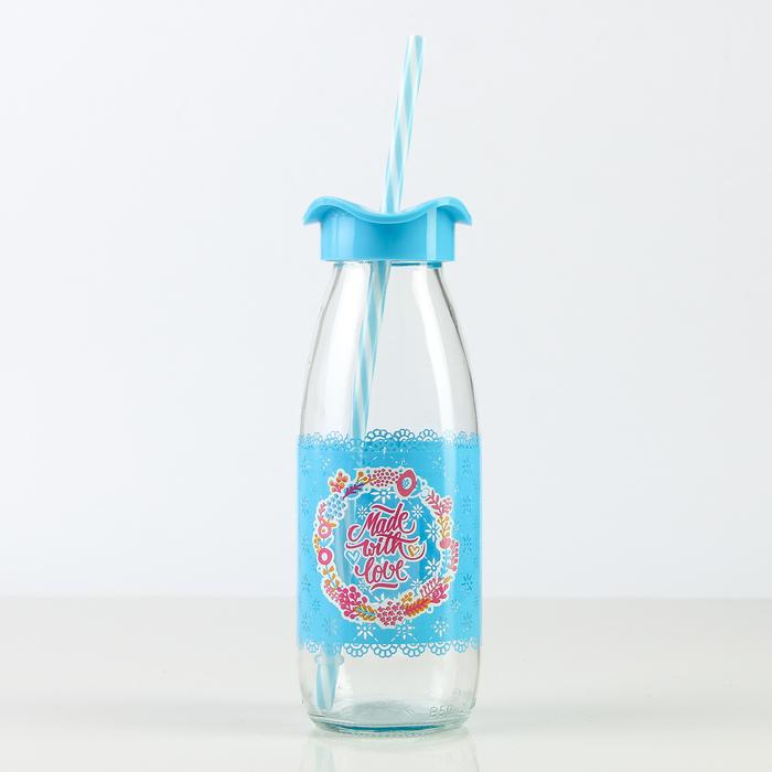"""Бутылка 500 мл """"Молочный путь"""", с трубочкой, рисунок МИКС"""