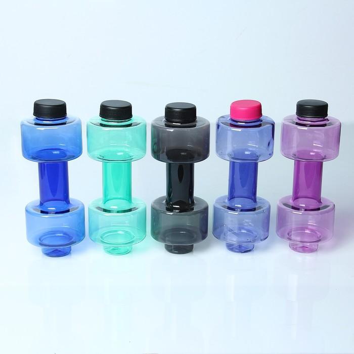 Бутылка для воды 500 мл, спортивная, в форме круглой гантели, прозрачная, микс, 8х20.5 см
