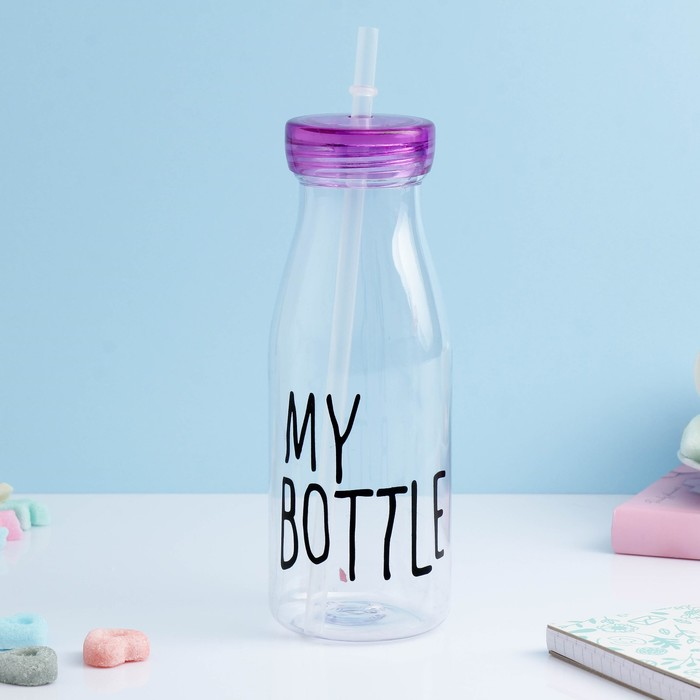 "Бутылка для воды ""My bottle"", 550 мл, с трубочкой, спортивная, прозрачная, микс, 7х14.5 см"