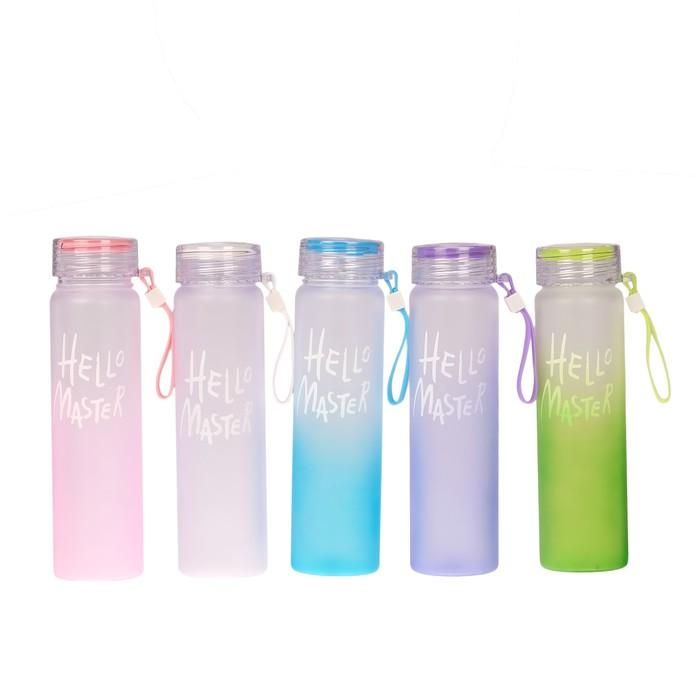 "Бутылка для воды ""Hello Master"", 500 мл, со шнурком, микс, 6х22см"