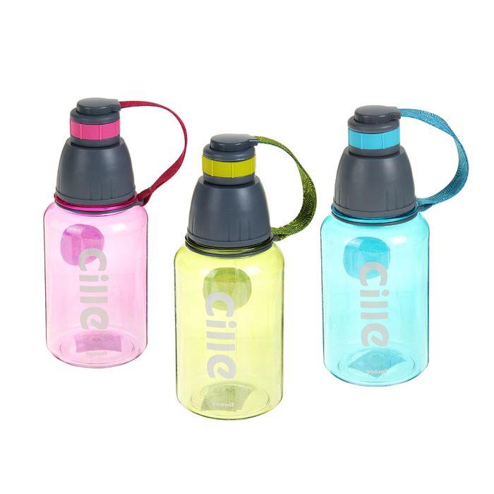 """Бутылка для воды """"Cille"""" с поильником в винтовой крышке, 900 мл, микс, 9х23 см"""