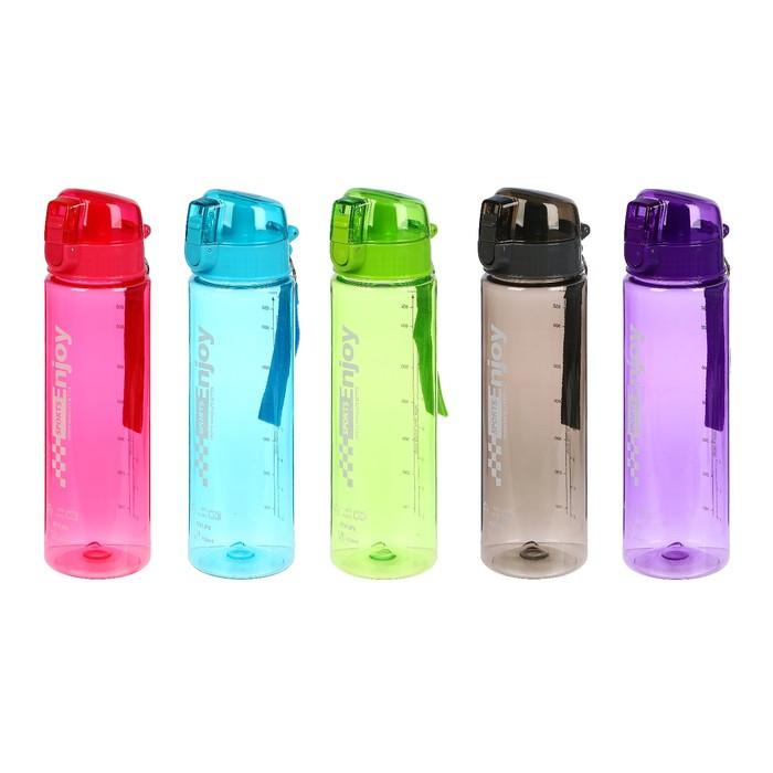"""Бутылка для воды """"Enjoy sports"""", 800 мл, на ремешке, прозрачная, микс, 8х26 см"""
