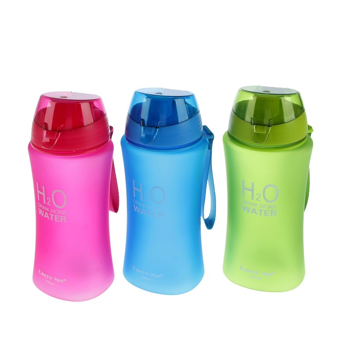 """Бутылка для воды """"H2O"""", 480 мл, на браслете, крышка на защёлке, матовая, микс, 7х21 см"""