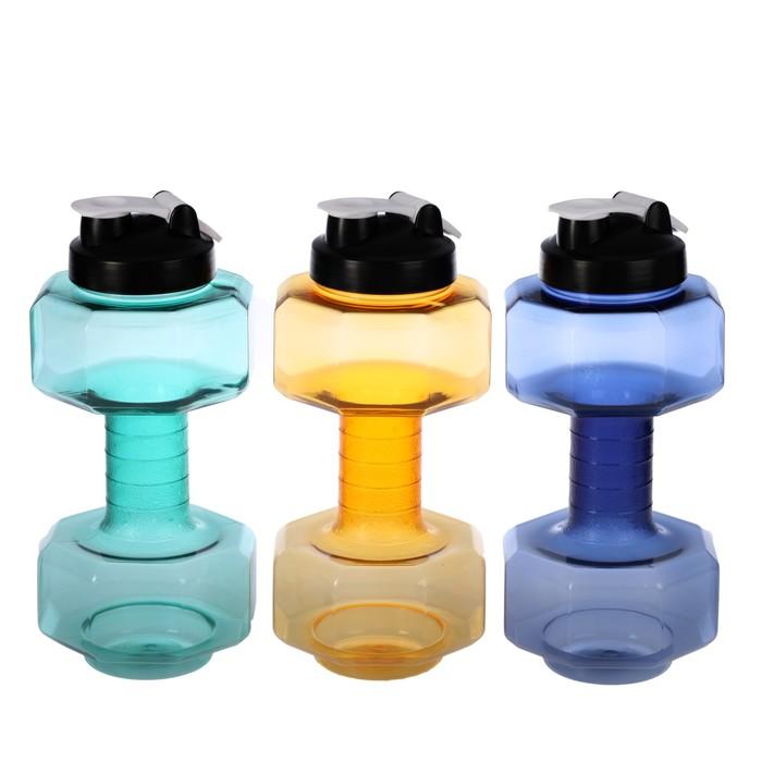 Бутылка для воды 2450 мл, в виде гантели, с тонкой ручкой, микс, 14х32 см