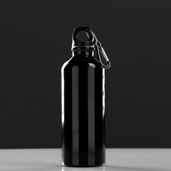 """Фляжка туристическая """"Классика"""" с карабином, 500 мл, чёрная, 6.5х21 см"""