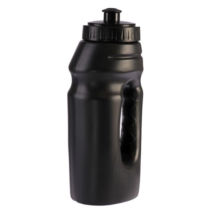 Бутылка для воды 700 мл, велосипедная, с ручкой, пластик HDPE, черная, 9.5х22 см