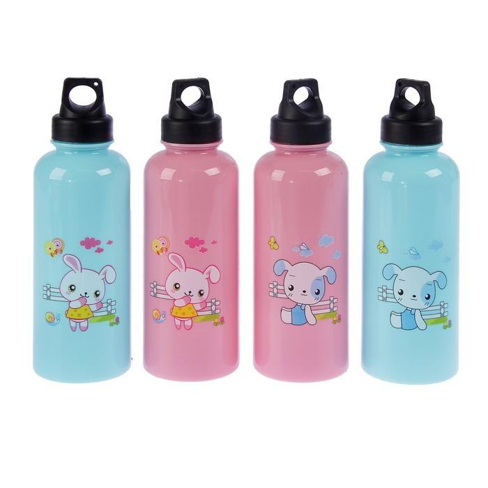 """Бутылка для воды """"Весёлые зверюшки"""", 650 мл, спортивная, микс, 6.5х17 см"""