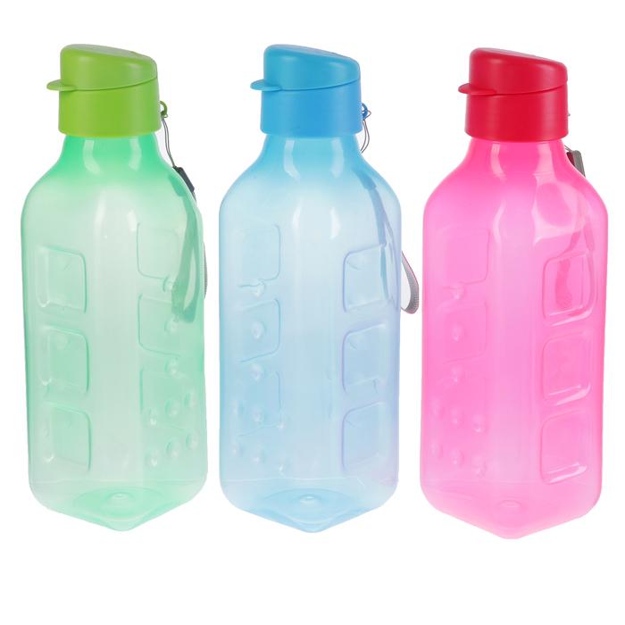 """Бутылка для воды """"Fun fun"""", 750 мл, выпуклая, на шнурке, микс, 8х8х26 см"""