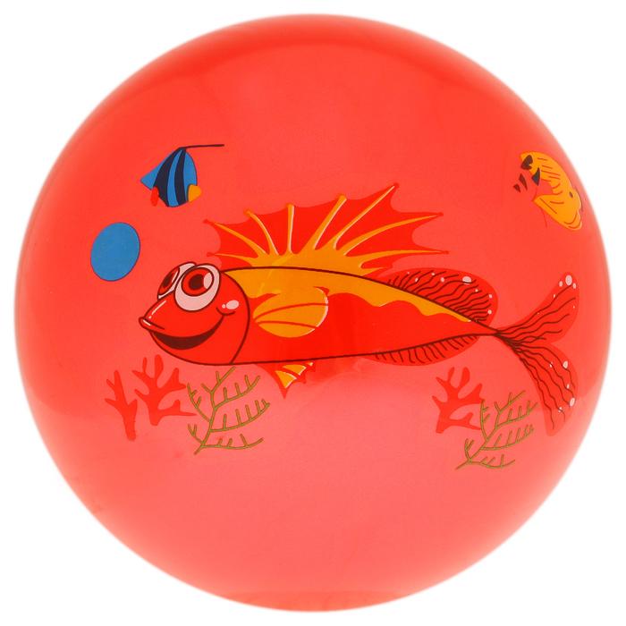 """Мяч детский """"Дельфинчики"""", d=25 см, 60 г, цвет красный, принт МИКС"""