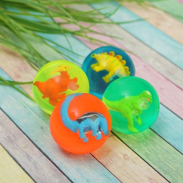 """Мяч каучуковый """"Динозавр"""", диаметр 4,5 см, цвета МИКС"""