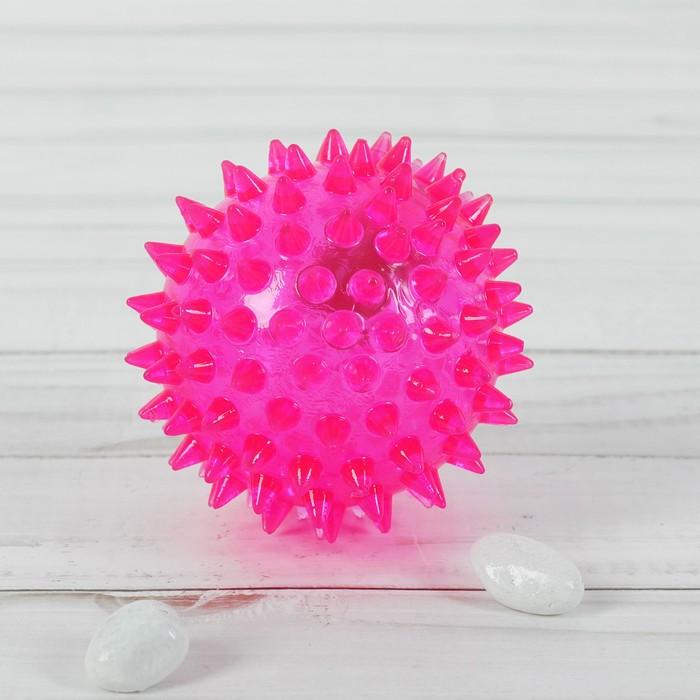 Мяч свет пикалка ежик, цвета МИКС