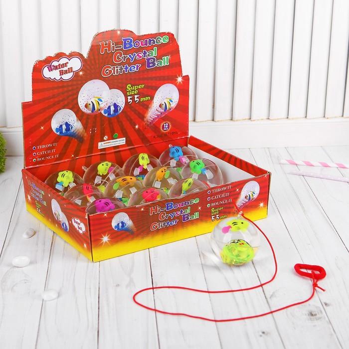 """Мяч световой """"Рыбка"""" с водой на резинке 5,5 см, цвета МИКС"""