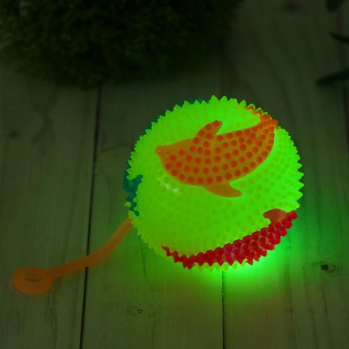 """Мяч световой """"Дельфин"""" на резинке 7,5 см, цвета МИКС"""