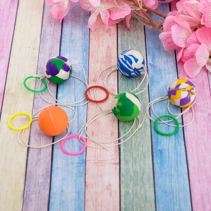 """Мяч каучуковый """"Цветик"""" с резиночкой, 2,7 см, набор 30 шт., цвета МИКС"""