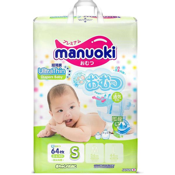 Подгузники Manuoki Ultrathin S64, 3-6 кг, 64 шт