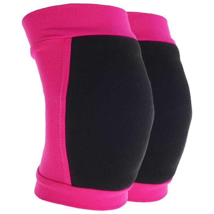 Наколенники для гимнастики и танцев (с уплотненной чашкой), размер S (7-10лет), цвет фуксия/чёрный