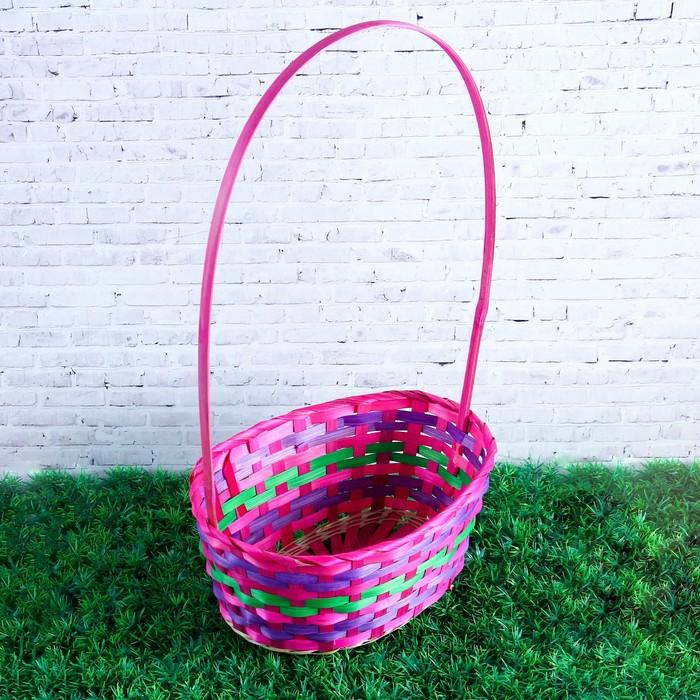Корзина плетёная, бамбук, овальная, розовая, с зелёной полосой