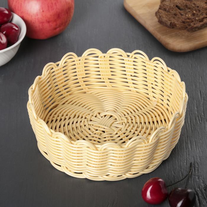 Корзинка для фруктов и хлеба, 17х17х5,5 см, цвет молочный