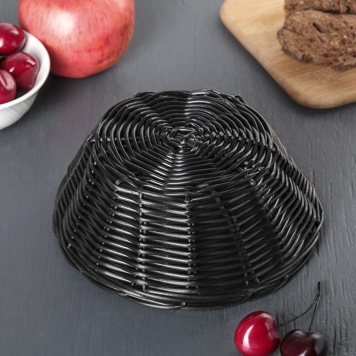 """Корзинка для фруктов и хлеба 17х17х7 см """"Плетенка"""", цвет чёрный"""