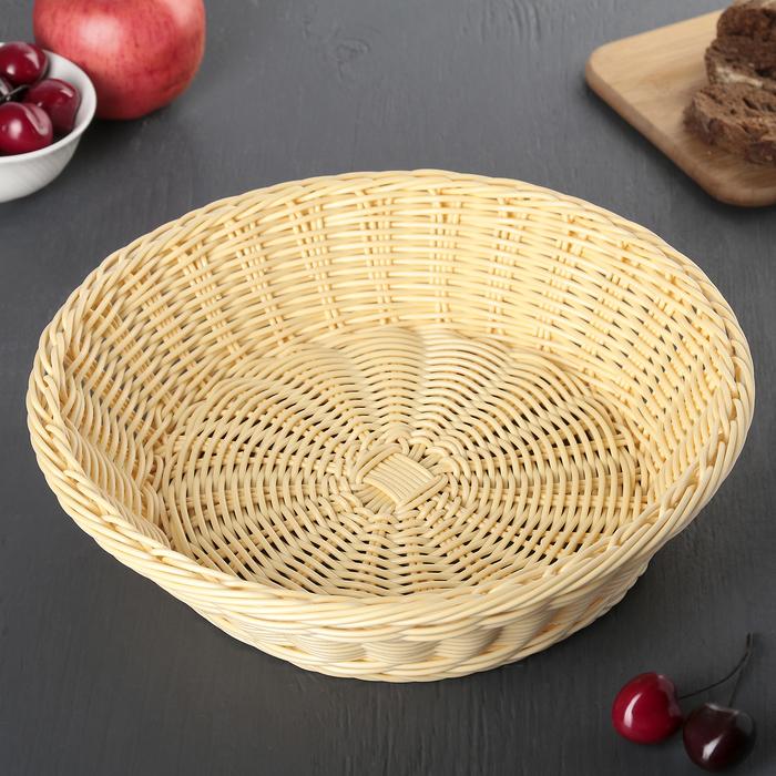 Корзинка для фруктов и хлеба, 29х29х8 см, цвет молочный