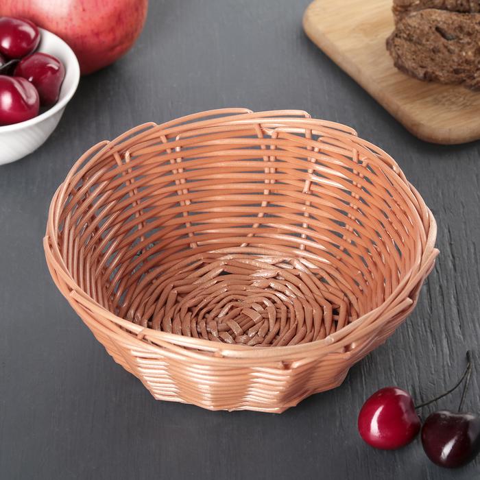 """Корзинка для фруктов и хлеба 17х17х7 см """"Плетенка"""", цвет коричневый"""