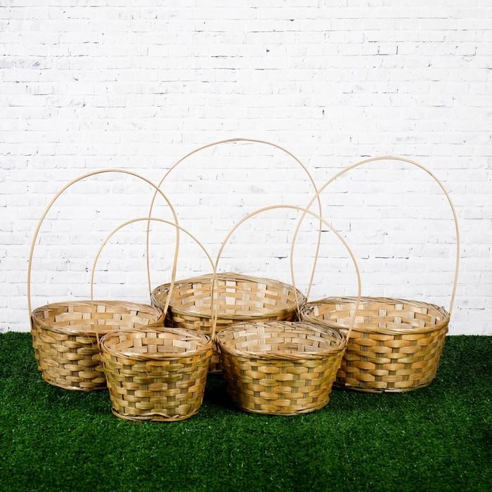 Набор корзин плетеных, бамбук, 5 шт, 16х16х10/32 см