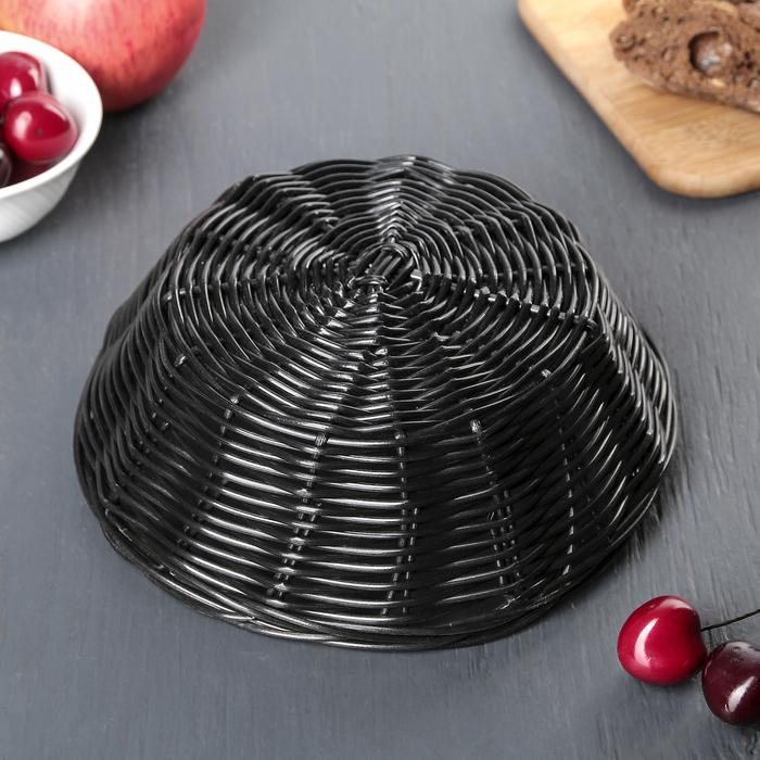 """Корзинка для фруктов и хлеба 20х20х7 см """"Плетенка"""", цвет чёрный"""