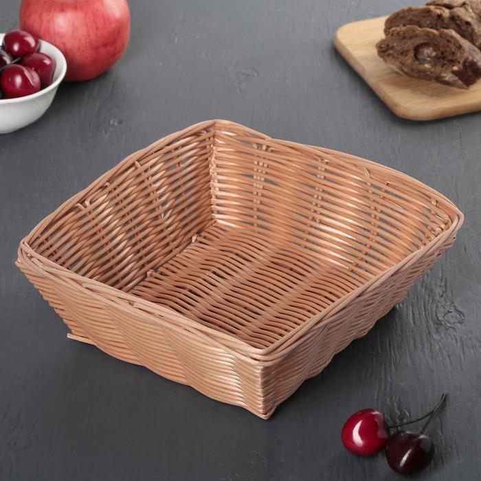 """Корзинка для фруктов и хлеба 20х20х7 см """"Плетенка"""", цвет коричневый"""