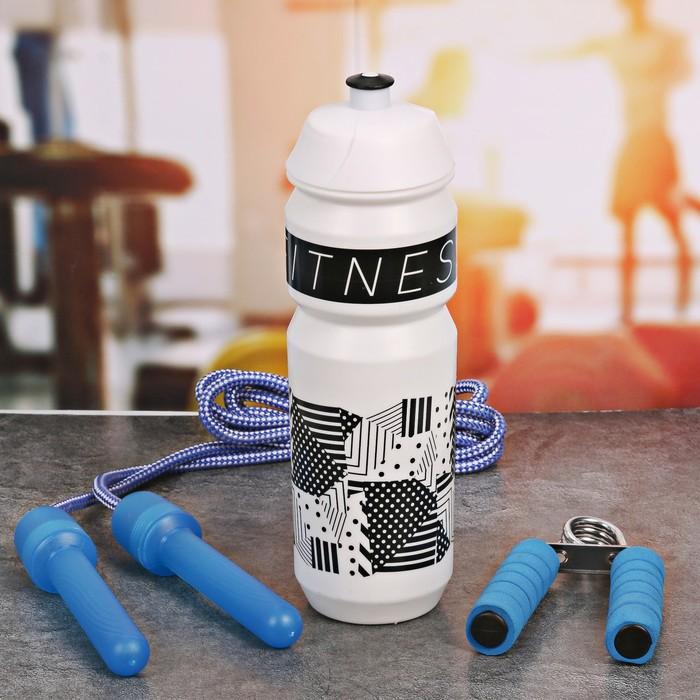 Набор «Fitness»: бутылка для воды 900 мл, скакалка, эспандер