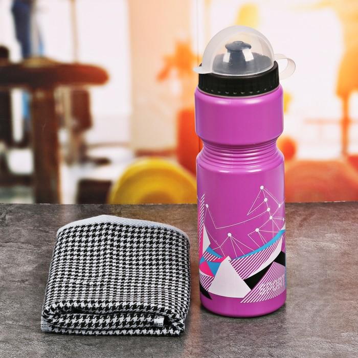 Набор «Sport»: бутылка для воды 800 мл, полотенце 30 см × 30 см, чехол