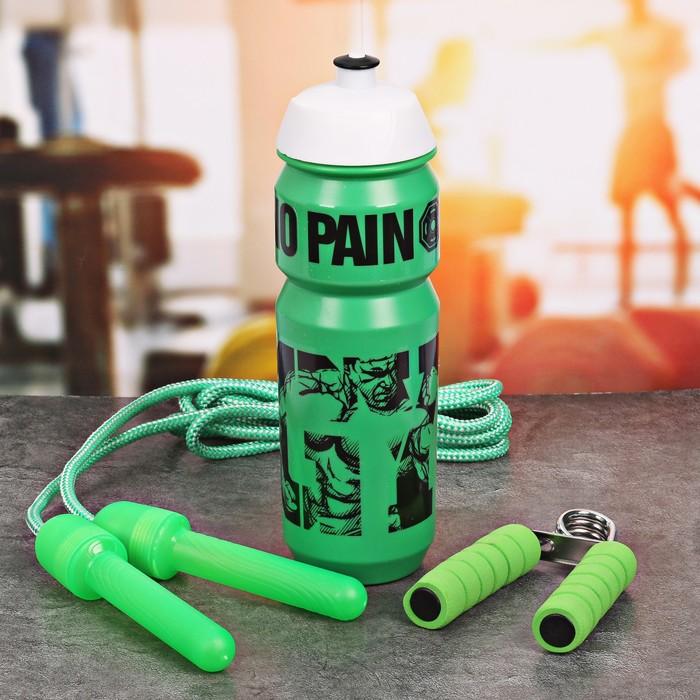 Набор «GYM»: бутылка для воды 900 мл, скакалка, эспандер
