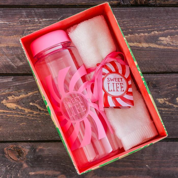 Набор «Sweet life»: бутылка для воды 500 мл, полотенце 30 см × 30 см