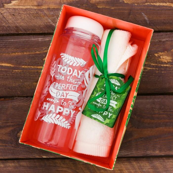 Набор «Perfect day»: бутылка для воды 500 мл, полотенце 30 см × 30 см
