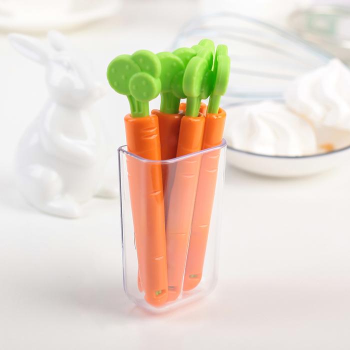 "Набор зажимов для пакетов 12х5х3 см ""Морковь"", 5 шт, цвет МИКС"