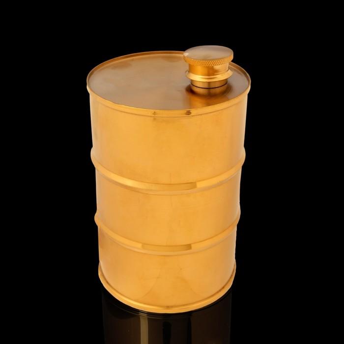 Фляжка 850  мл, в виде армейской бочки, 304 нерж сталь, золотистая, 9.2х14.5 см