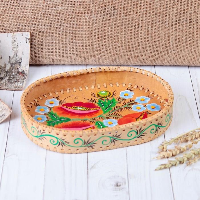 Сухарница «Цветы», роспись, 23×16×4 см, береста