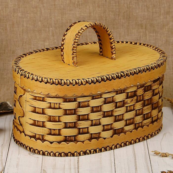 Хлебница плетеная 25×17×21 см, береста