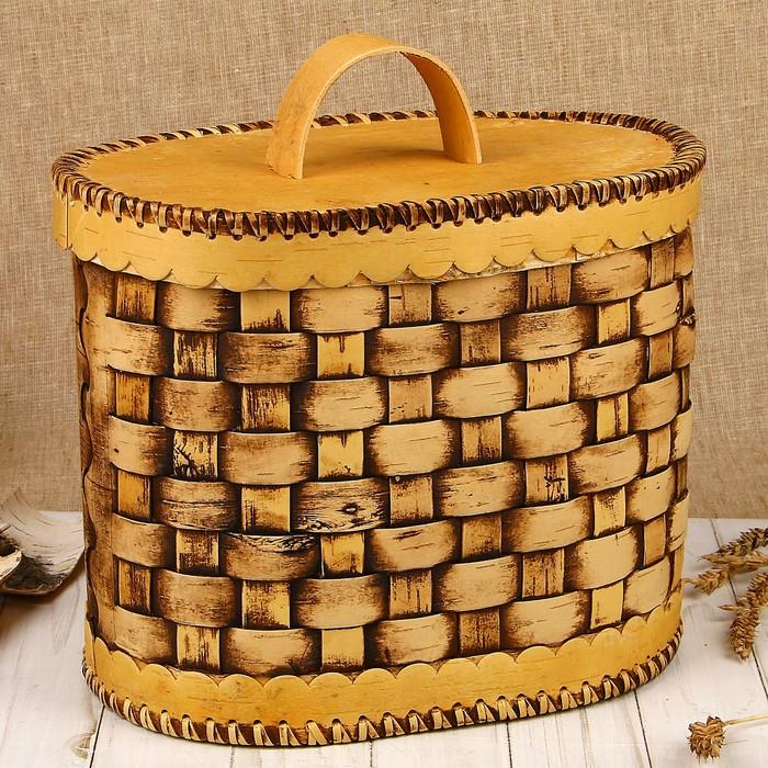Хлебница плетёная, овальная, 22х17,5х22 см, береста