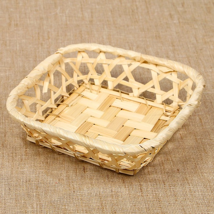 Хлебница «Плетёнка», 16×16×4 см, бамбук