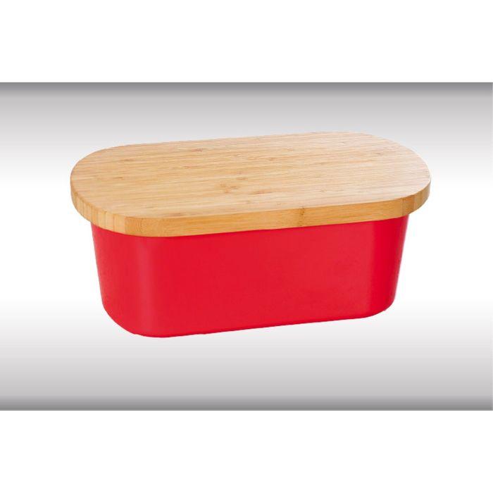 Хлебница «Kesper», с деревянной крышкой, 34 х 13 х 18 см, красная