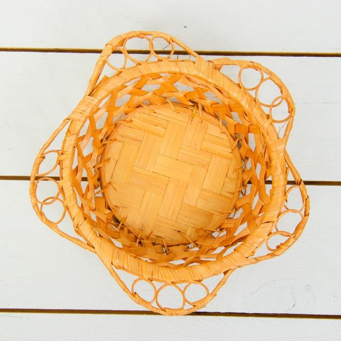 Хлебница «Плетёнка», Dдно=13 см, Dверх=17 см, H=4 см, бамбук