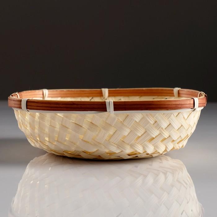 Сухарница «Плетёнка», 18×18×4 см, бамбук