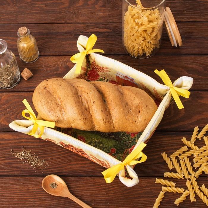 """Хлебница """"Доляна"""" Хлебосолье 30*30 см, 100% хлопок, рогожка 162 г/м2"""