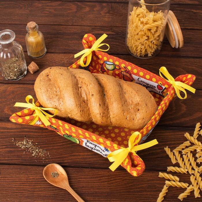 """Хлебница """"Доляна"""" Приятного аппетита 30*30 см, 100% хлопок, рогожка 162 г/м2"""