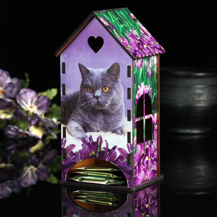 Чайный домик «Кот», ирисы, 9,3×9,3×20 см