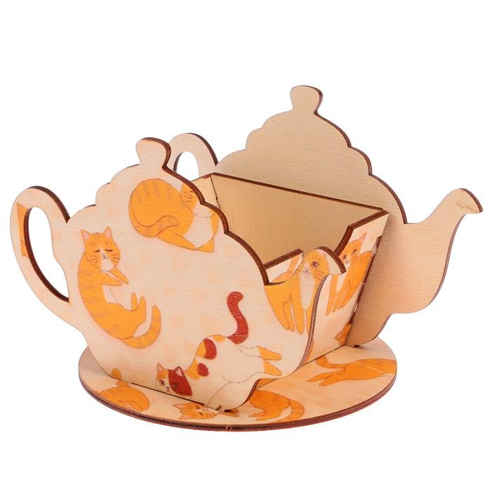 "Чайный домик ""Чайничек с котиками"" 15х8,5х10см"