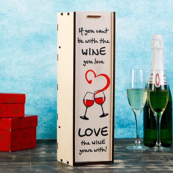 """Коробка для бутылки """"Love"""", с выдвижной крышкой, 11×11×38 см"""
