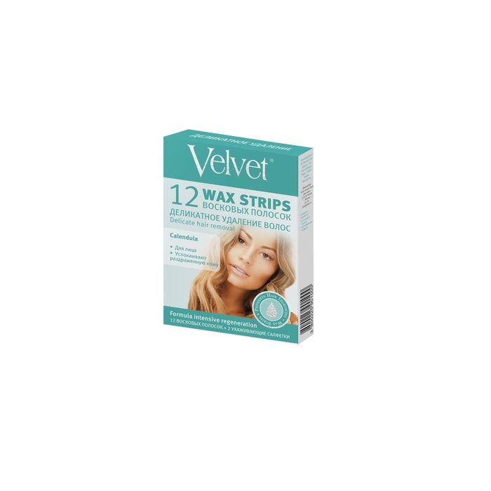Восковые полоски Velvet, деликатное удаление волос, для лица, 12шт