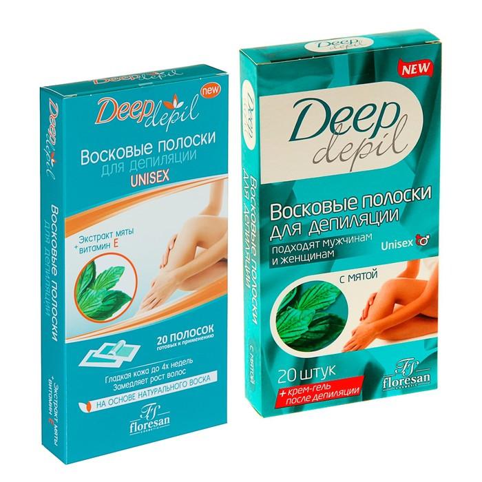 Восковые полоски для депиляции Deep Depil Unisex, с мятой, 20 шт